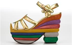 Ferragamo rainbow platform wedge from the Ferragamo Creations collection, a reissue of classic Ferragamo designs.